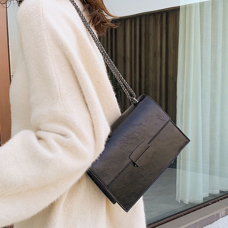 Solid Color PU Leather Crossbody Bags For Women 2020 Chain Shoulder Messenger Bag Female Travel Lock Handbags