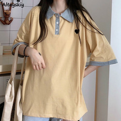 T-shirts Women Patchwork Loose Oversize 2XL Tee Tops Female Clothes Harajuku BF Chic All-match Leisure Daily Student Kawaii New