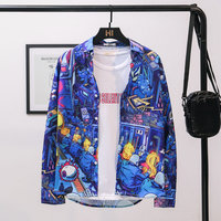 Blue bottom pattern 3D printed clothes Men's long sleeve shirt hip hop Street dance shirt BF Harajuku style autumn mens shirt