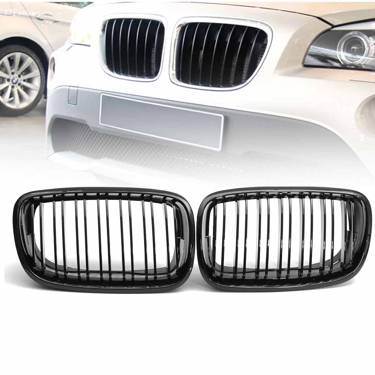 SHENGYAWAUTO ABS Front Hood Sport Bumper Kidney Grille Pair For BMW E70 X5 E71 X6 2007-2013