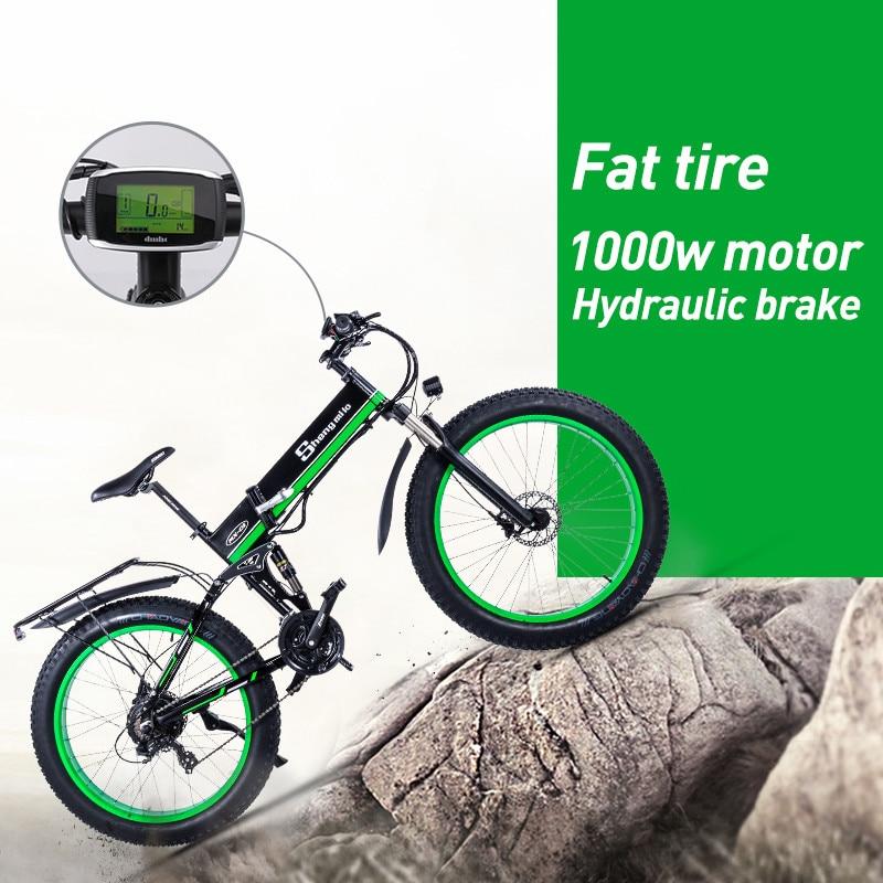 Elektrische fahrrad schnee bike fett reifen 26 zoll Motorrad e bike 1000w 48v elektrische faltrad sheng milo berg erwachsenen fahrrad