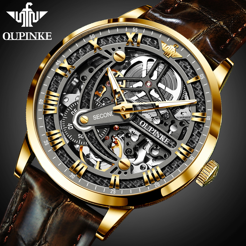 Clock Mechanical-Watches Skeleton OUPINKE Sport Top-Brand Luxury Men New for Montre Homme