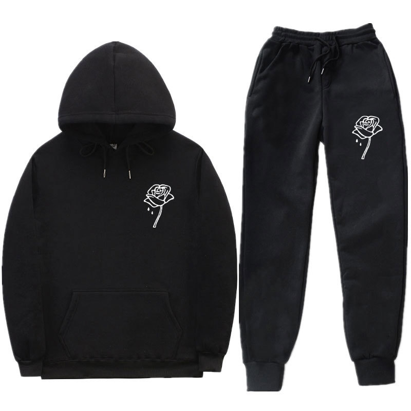 Fashion Rose Hoodie Suit Hooded Sweater Sweatpants Men And Women Leisure Sports Suit
