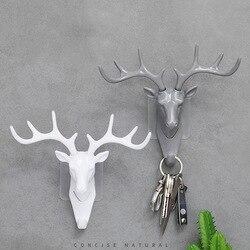 Wall Hook Vintage Deer Head Antlers For Hanging Clothes Hat Scarf Key Deer Horns Hanger Rack Wall Decoration Hanging Hook 1pcs