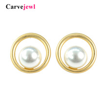 Carvejewl big stud earrings simple round circle simulated pearl earring for women jewelry romantic new fashion European