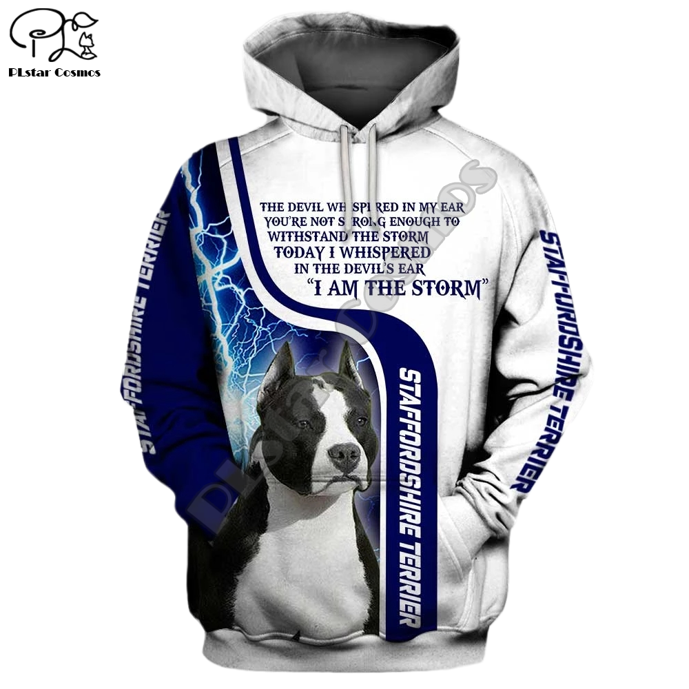 Mens Staffordshire Terriers Dogs 3d Print Hoodies Autumn Long Sleeve Sweatshirts Women Pullover Tracksuit Hood Hoody Outwear