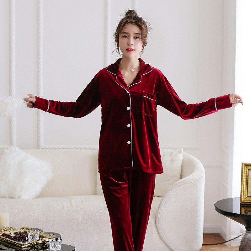 Velvet Women Pajamas Set Pyjamas Suit Elegant Burgundy Sleepwear 2PCS Sleep Set Shirt&pant Casual Soft Nightwear Homewear