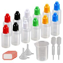60 Pcs 30ml Plastic Squeezable Liquid Bottle with Childproof Cap,Thin Tip,Funnel,Measuring Cup,Pipette for E-liquids DIY Craft