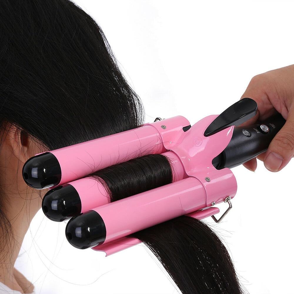 Digital cerâmica triplo barril onda de cabelo