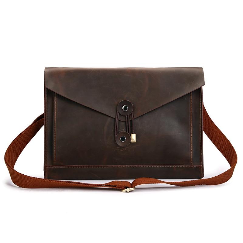 Envelope Genuine Leather Messenger Bag Men Leather Shoulder Sling Computer Bag 13 Inches Office Work Laptop Real Cow Fashion 059