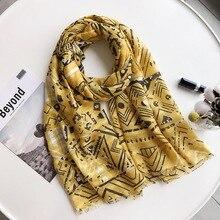 Novo tipo de lenço de seda no verão 2019 muçulmano lenço, marca de luxo bandagem cachecol, verão lenço