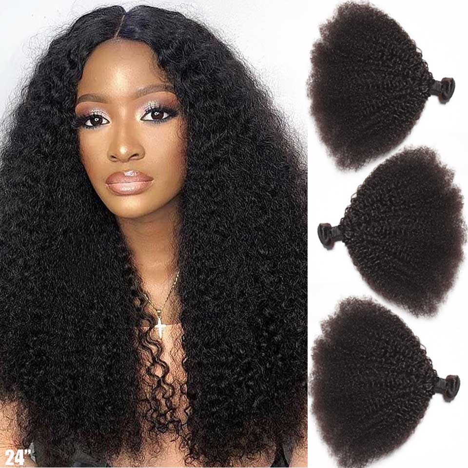 3 4 Bundles Afro Kinky Curly Hair Bundles Brazilian Hair Weave Bundles 100% Human Hair Bundles Remy Human Hair Extensions