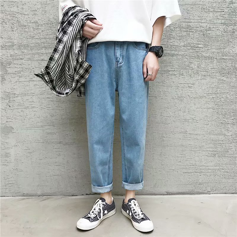 Summer New Style Hong Kong Style Trend Straight-Cut Jeans Men Korean-style Loose-Fit Teenager Casual Pants