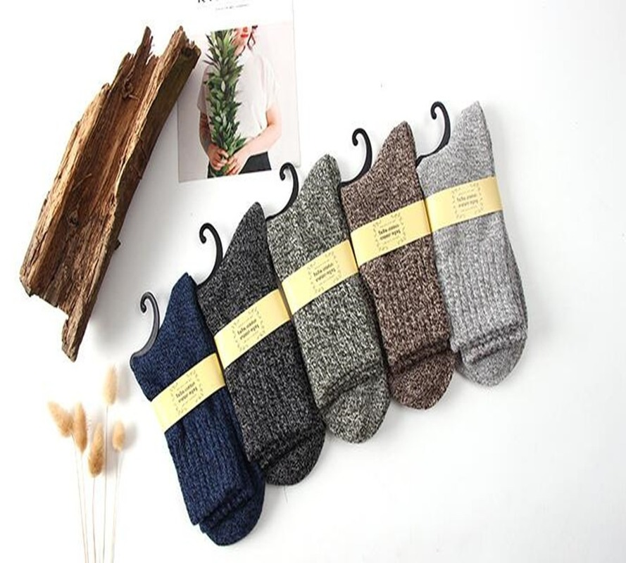 New 5 Pair/Lot Men's Wool Socks Stripe Casual Calcetines Hombre Thick Cotton Socks Winter Warm Socks Male High Quality SA-8