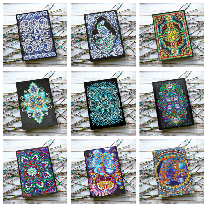 Various patterns DIY diamond painting notebook A5 50 pages special-shaped diamond embroidery cross stitch children's gift