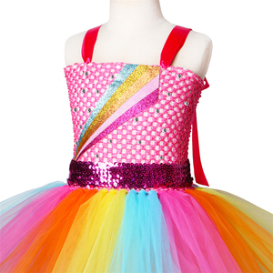 Image 4 - Jojo Siwa Tutu Dress with Hair Bow Rainbow Girls Princess Dress Tulle Kids Tutu Dresses for Girls Holiday Birthday Party Costume