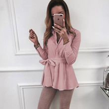 Women Solid Long SLeeve Shirt Casual Turn-down Collar Blouse Autumn Loose Office Shirts nicemix 2019 jeans painting blouses female long sleeve turn down collar shirts spring autumn casual loose women blouse shirts