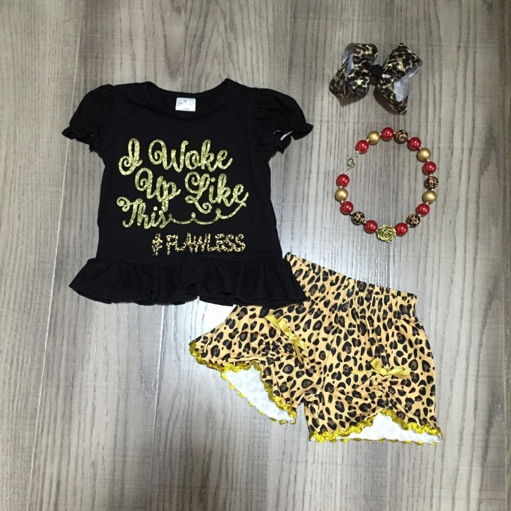 Baby Girls Spring Clothes Girls Leopard Outfits Girl Black Shirt With Leopard Shorts Children Summer Clothing With Accessories
