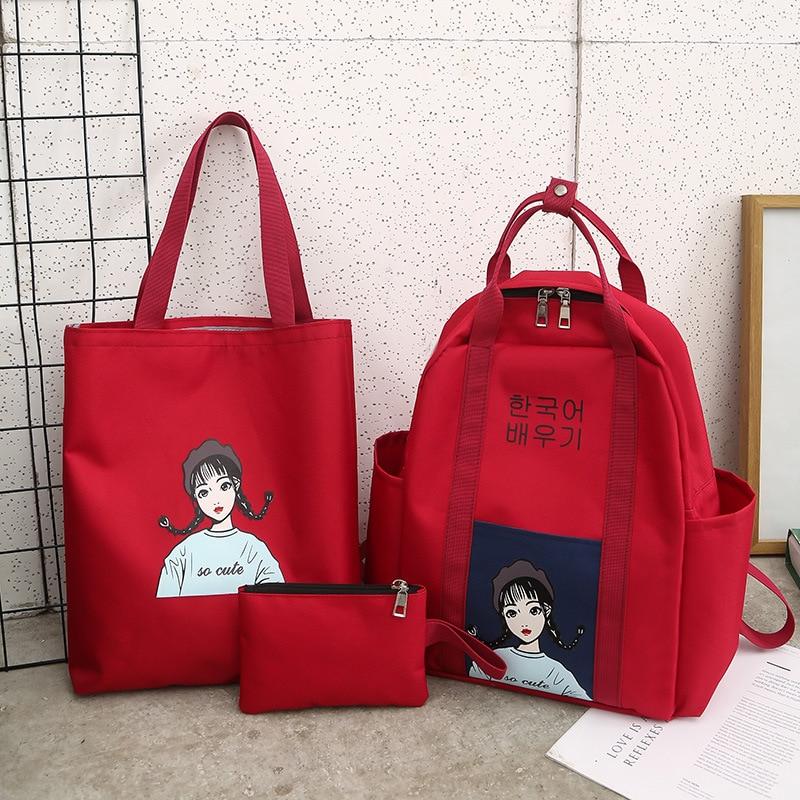 School Bag Women's Korean-style Harajuku Ulzzang High School College Student Versatile Canvas Shoulder INS