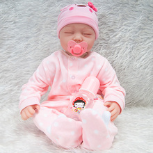 22 Inches Lovely Realike Pink Clothing Reborn Baby Doll Full Toy Set Kids Bestmate  - Cloth Body Doll (Clothing As Shown)