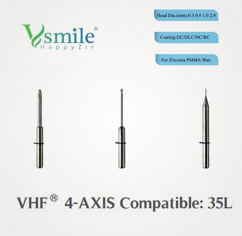 VHF K4 CAD CAM фрезерные боры с алмазным/углеродным/радужным покрытием для стоматологические блоки из циркония/PMMA/PEEK/WAX