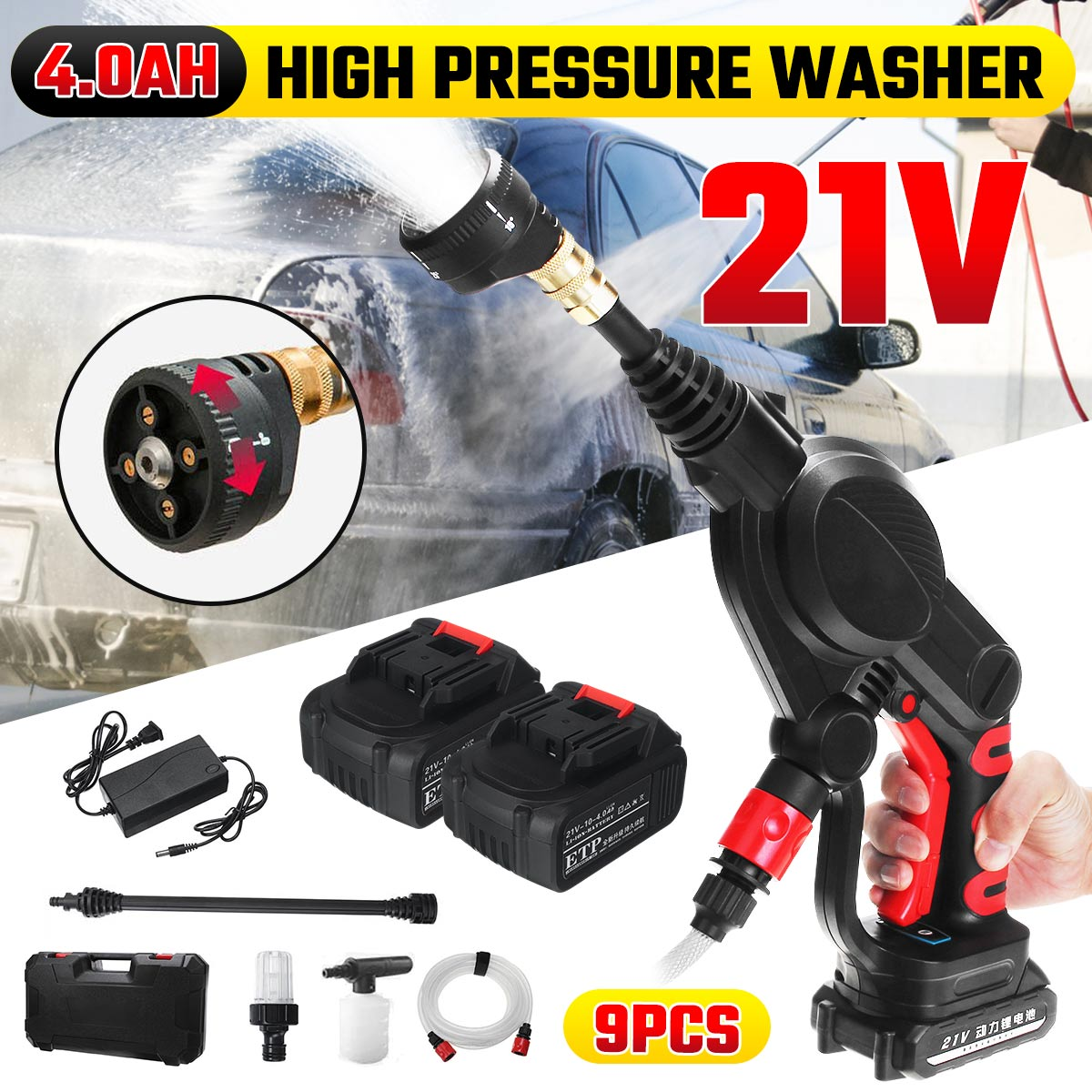 Car-Washer-Gun Water-Jet 2-Batteries Wireless Auto-Spray Garden Handheld Portable High-Pressure