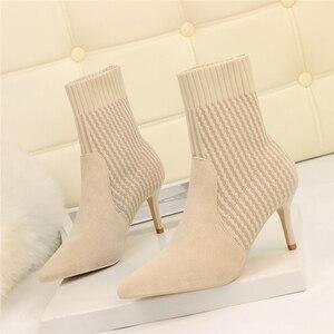 Image 1 - Botas de calcetín de Invierno para mujer, botines elásticos de punto Sexy, zapatos de tacón alto a rayas, botines de otoño 2019