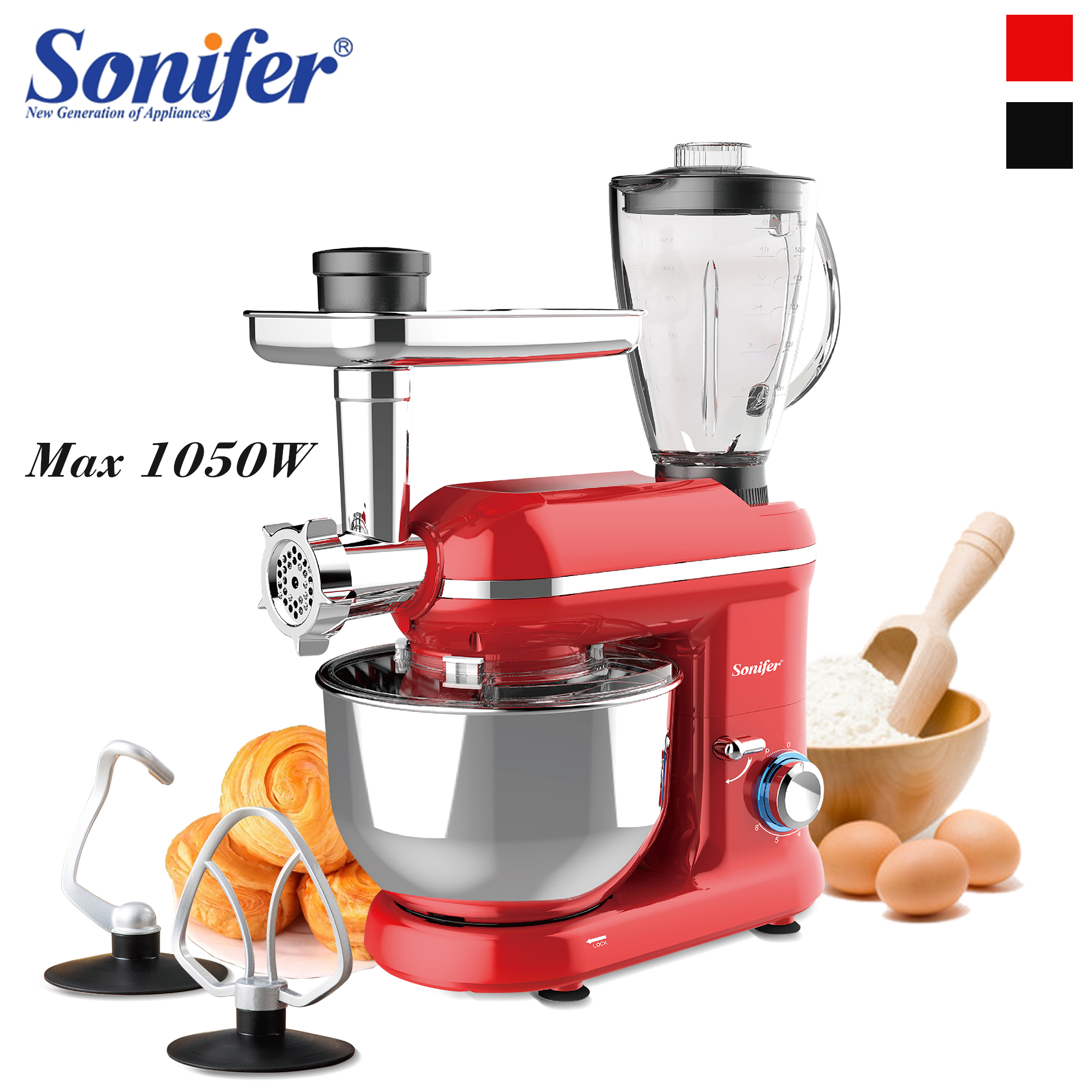 1050W 5.5L Kitchen Food Stand Mixer 6-Speed 3in1 Household Kitchen Meat Grinder Blender Juicer Cake Dough Bread Mixer Sonifer