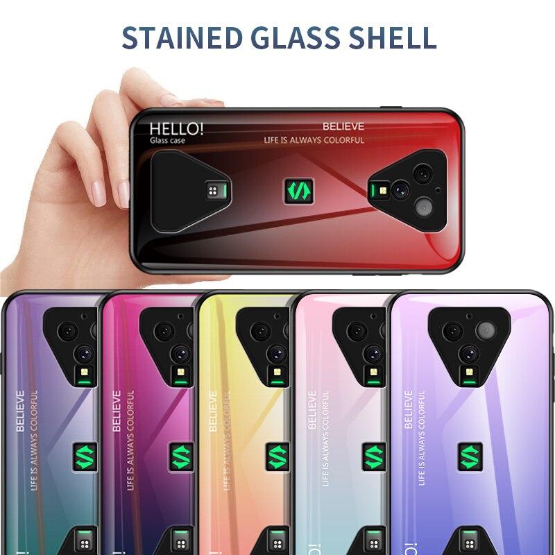 For Xiaomi Black Shark 3 Pro Case Gradient Tempered Glass Soft Silicone Bumper Case Cover For Blackshark 3 Pro Gobal Funda