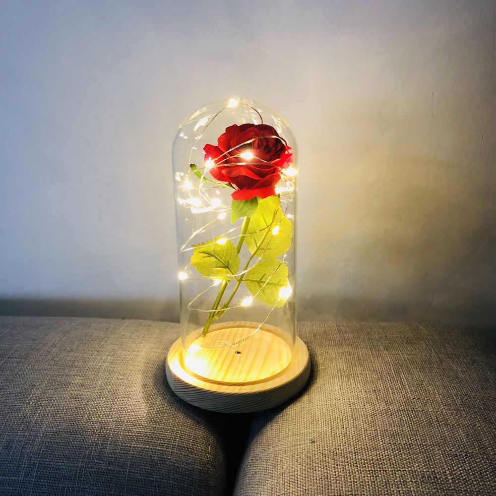 Eternal Flower Glass Cover Beauty And Beast Eternal Flower Rose In Flask 1