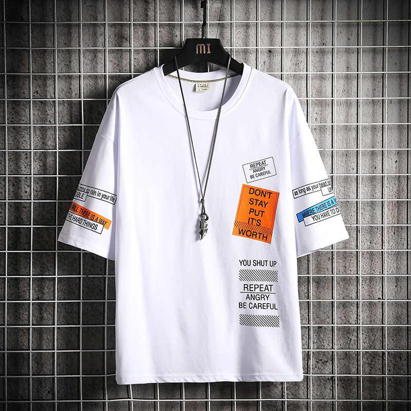 2020 힙합 T 셔츠 남성용 레터 프린트 T 셔츠 하라주쿠 Streetwear Tshirt 패치 워크 반소매 여름 탑스 Tee Back Printed