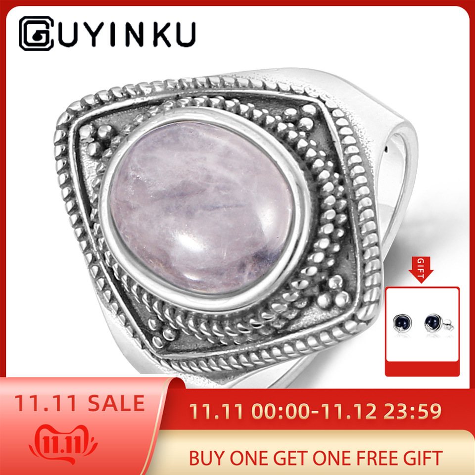 GUYINKU Oval Natural Rose Quartz Ring Elegant Vintage 925 Sterling Silver Jewelry Thai For Women Party Gift Fine