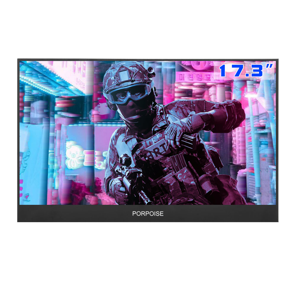 PORPOISE 17.3 Inch Game Portable Screen 1920x1080 HDR IPS  NTSC 72% 60Hz Display Type C For Ps4 Xbox NS Switch USB Monitor