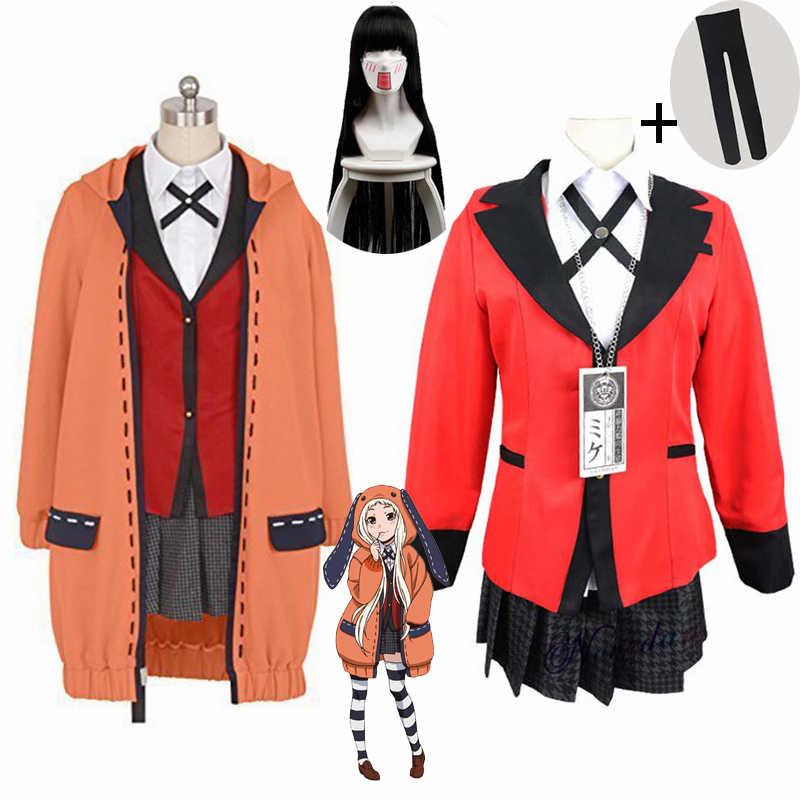 Pijama compulsivo para cosplay, peruca para fantasia de anime com capuz, peruca para cosplay de sabami yumeko