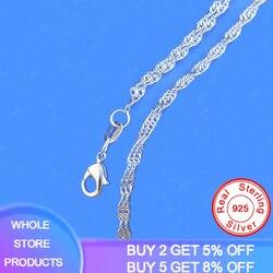 YANHUI argent 925 colliers Fine 2mm chaîne 925 bijoux en argent Sterling vague d'eau chaîne collier 16/18/20 pouce Pick longueur N396