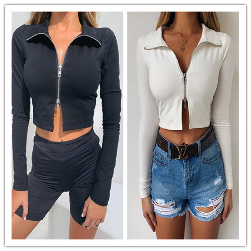New Women Ladies Fashion Casual Autumn Jacket Coat Long Sleeve Solid Zipper V Neck Jacket Coat Party Clubwear