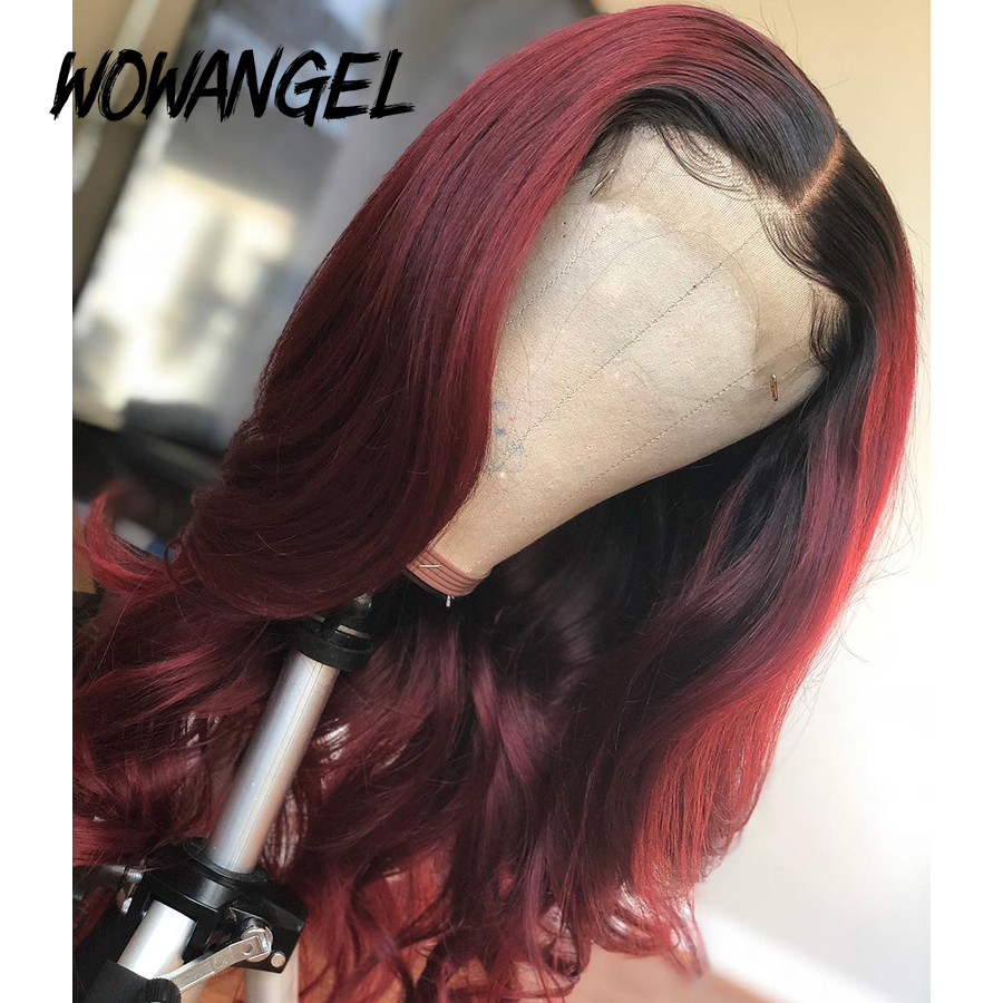 Wowangel Ombre Burgundy 1b99J Lace Front Human Hair Wigs For Women Pre Plucked With Baby Hair Brazilian Remy Hair