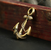 Artesanal de bronze puro navio âncora retro artesanato diy ornamento em miniatura portátil montagem chaveiro pingente lembrança presente a0788