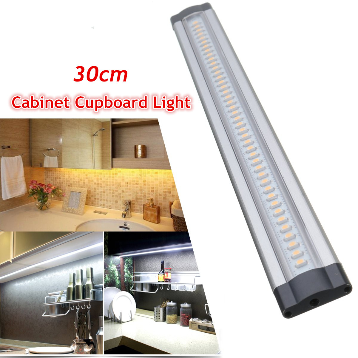 12V <font><b>30</b></font> <font><b>cm</b></font> <font><b>LED</b></font> Motion Sensor Light <font><b>LED</b></font> <font><b>Bar</b></font> Night Lights Strip Under Cabinet Kitchen Indoor Home Bedroom Wardrobe Closet Stairs image
