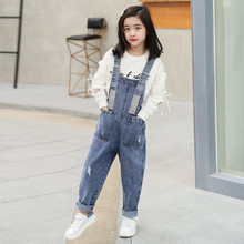цена на Fashion Teenage Girls Overall Kids Denim Jumpsuit Children Overalls Jeans Spring Fall Jeans Pants Cowboy Pockets Clothing 6-16Y