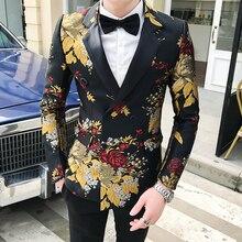 Мужской приталенный пиджак, деловой пиджак с принтом, свободный деловой пиджак, 2019