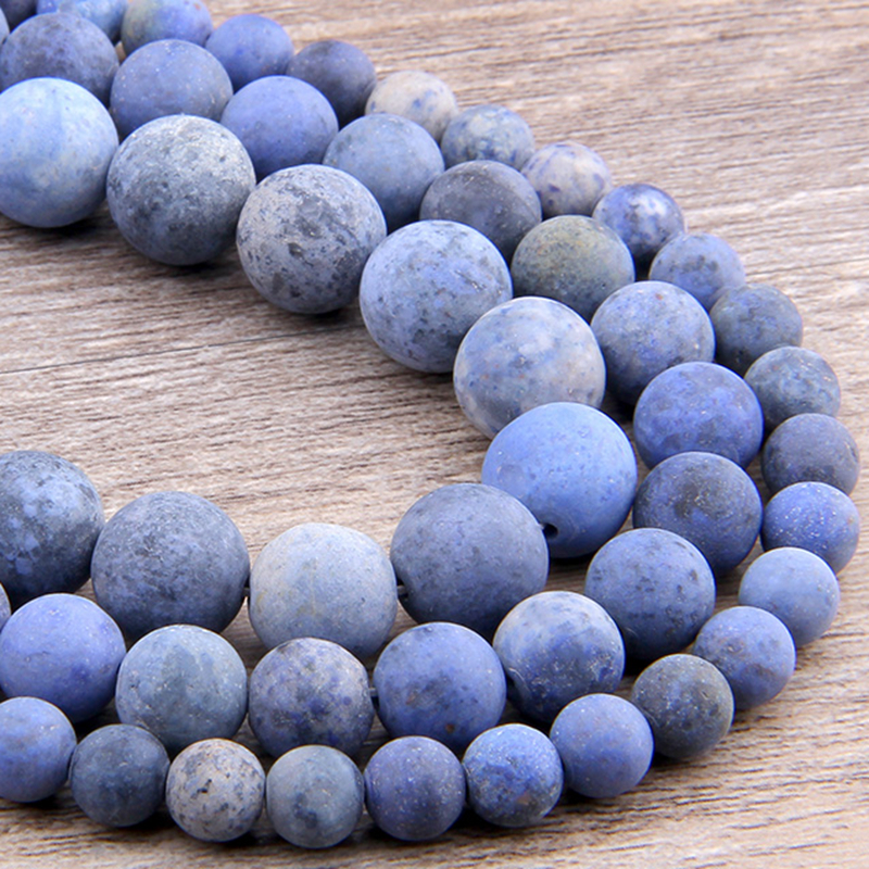 Matte Natural Blue-vein Stone Frosted Beads Spacer Round Loose Blue Sodalite Beads 6 8 10 12 MM For Jewelry Making DIY Bracelets