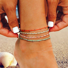 Водостойкий воск нить ручной вязки ножной браслет для женщин круглый кулон Модные простые пляжные ювелирные изделия
