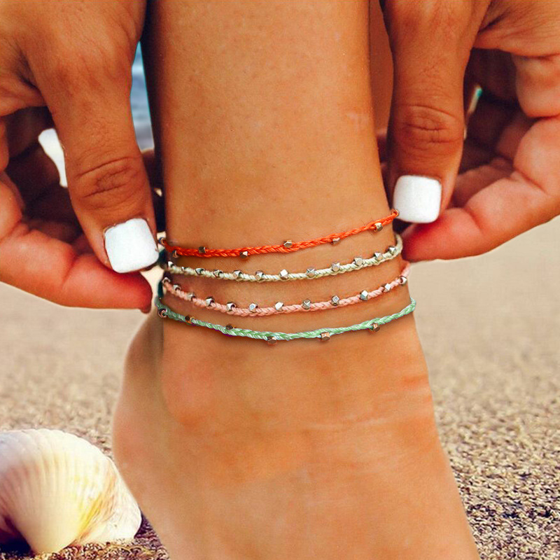 Waterproof Wax Thread Hand-knitted Anklet for Women Round Pendant Fashion Simple Beach Jewelry