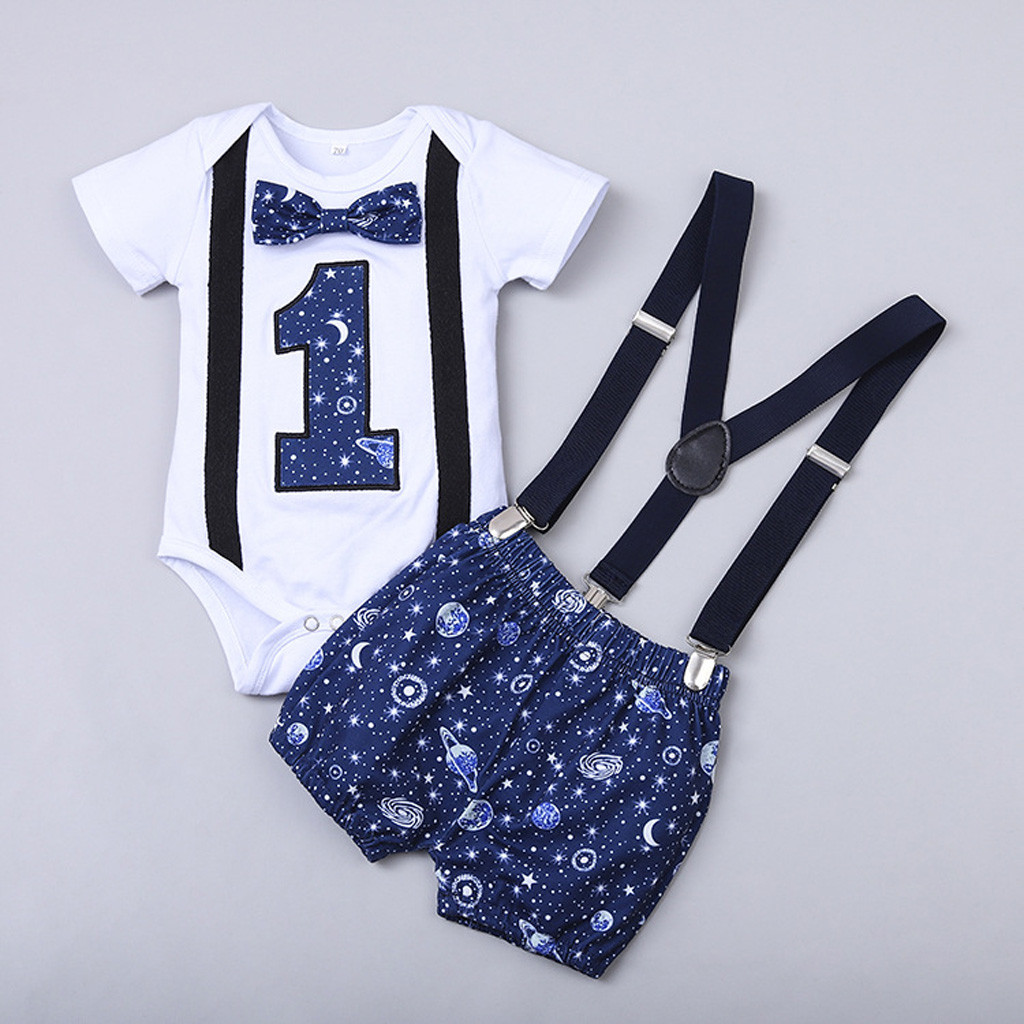 Baby Boy Clothes One Year Birthday Baby Outfits Baby Boys Gentleman Space Print One Year Old Birthday Romper Straps Shorts Sets Clothing Sets Aliexpress