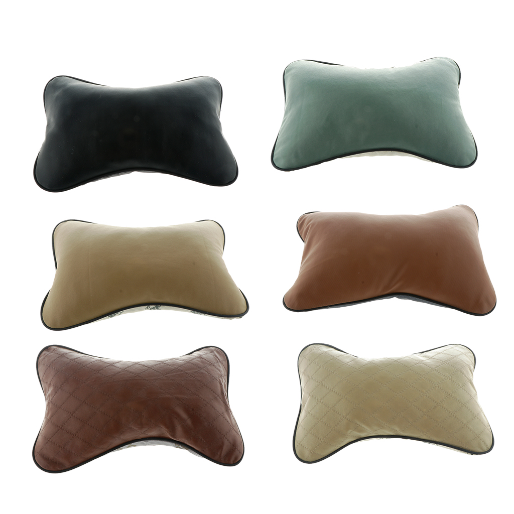 Image 4 - Brand New Durable Superior Quality Leather Pillow Breathable Mesh Cushion Headrest Neck Pillow High Health Care Car Headrest-in Seat Supports from Automobiles & Motorcycles