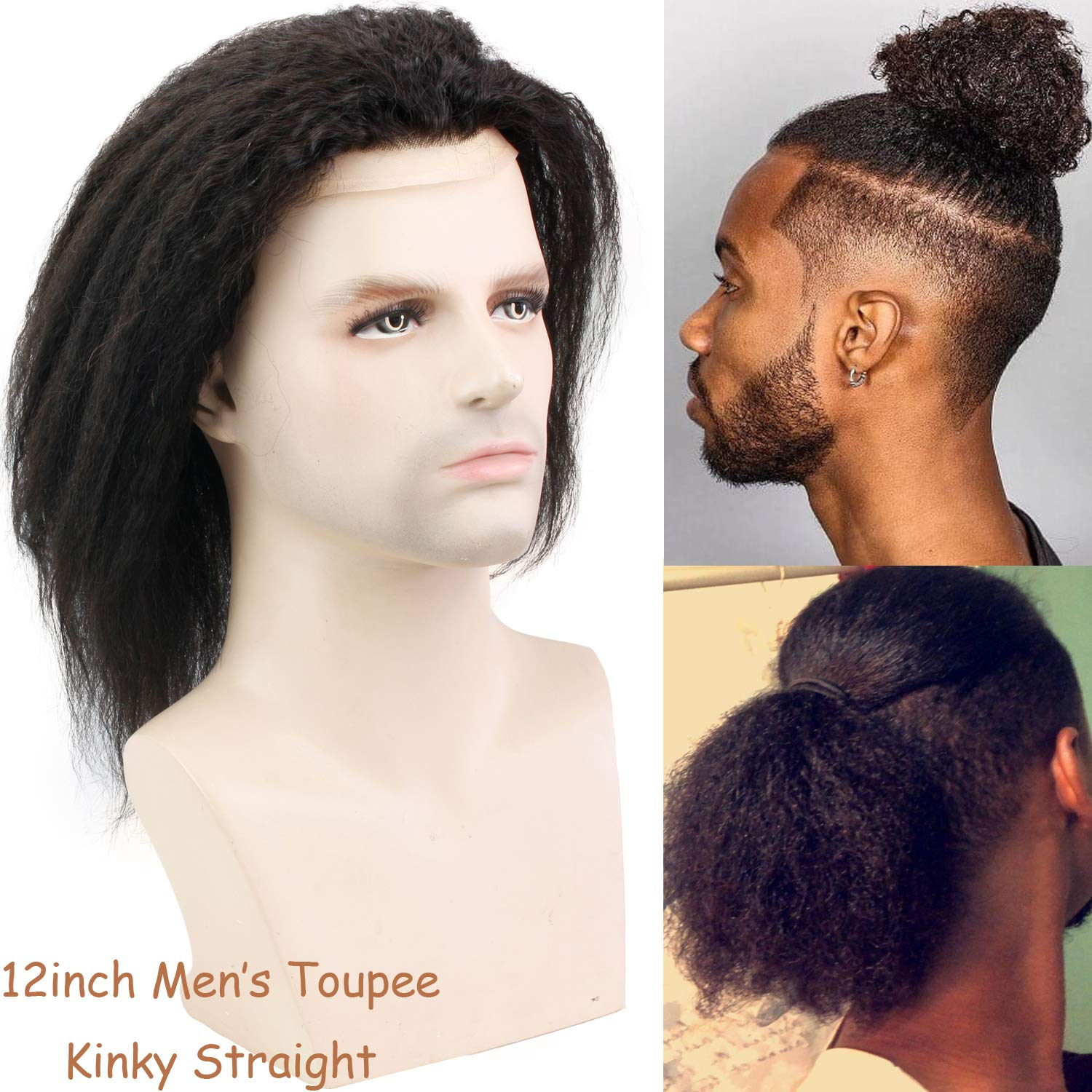 """12"""" Long Kinky Straight Human Hair Replacement for Men Stock Toupee Mono Lace and PU Around with Swiss Lace Front 10x8""""Base size"""