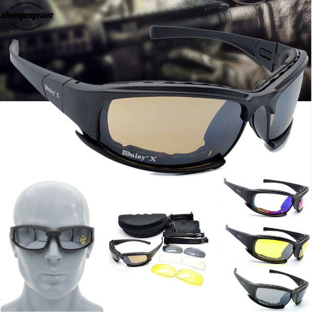 X7 Tactical Polarized Glasses Military Goggles Army Sunglasses with 4 Lens for Hunting Shooting Cycling Motorcycle Glasses