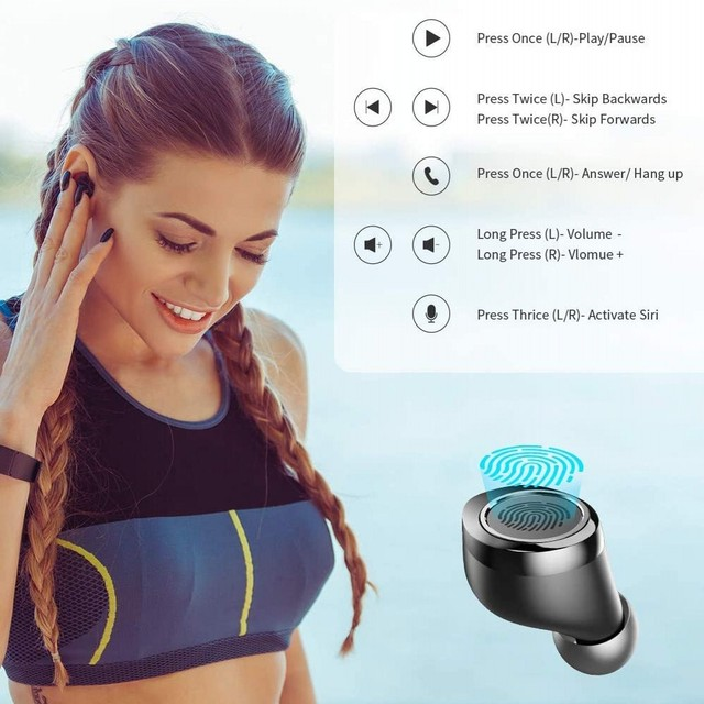 Bluetooth 5.0 Earbuds in-Ear TWS Stereo Headphones with Smart LED Display Charging Case IPX7 Waterproof 120H Playtime 4