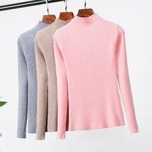 Женский свитер с высоким воротником и пуловеры модный вязаный